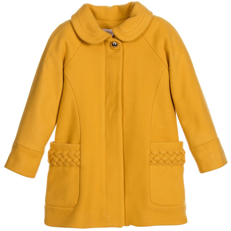 Chloe Girls Yellow Wool Coat with Braided Detail Girls Jackets & Coats Chloé [Petit_New_York]