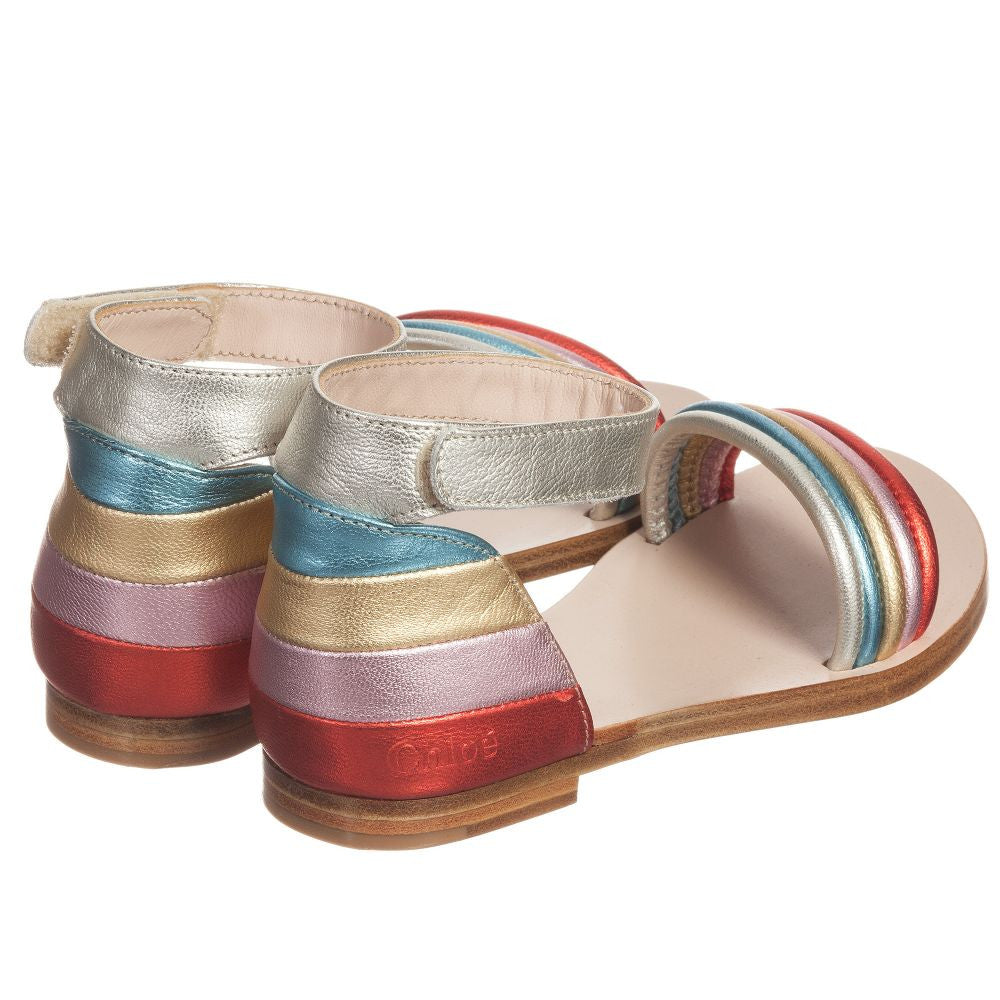 Chloe Girls Metallic Leather Sandals | New Collection