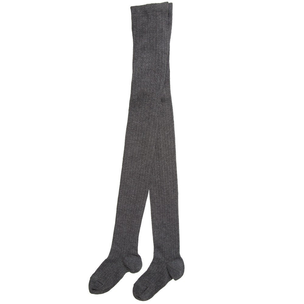 Chloe Girls Grey Ribbed Cotton Tights Girls Underwear, Socks & Tights Chloé [Petit_New_York]