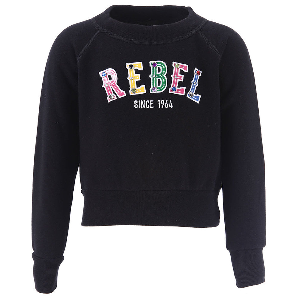 Dsqaured2 Girls Black 'Rebel' Sweatshirt Girls Sweaters & Sweatshirts Dsquared2 [Petit_New_York]