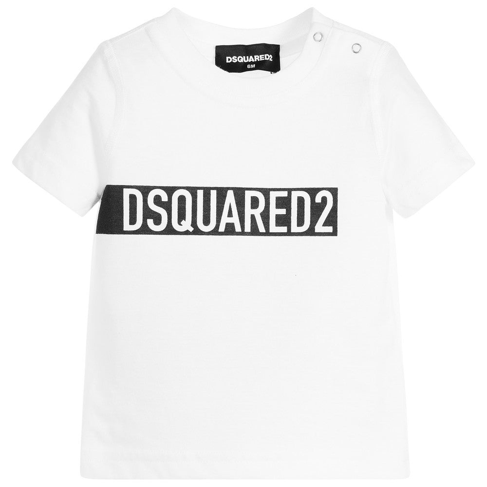 Dsquared2 Baby Boys White Logo T-shirt Baby T-shirts Dsquared2 [Petit_New_York]