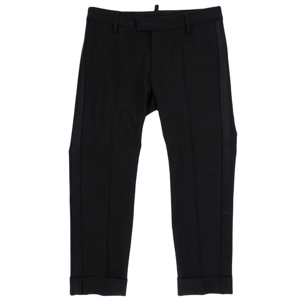 Boys Sleek Black Wool Pants
