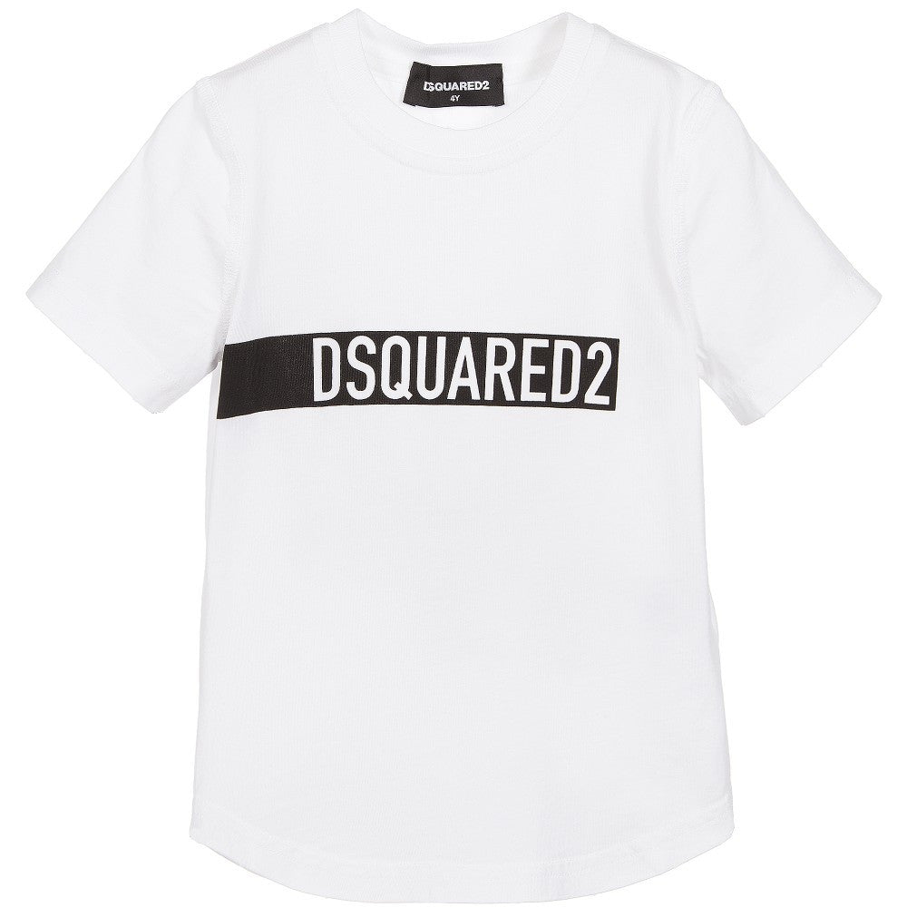 Dsquared2 Boys White Logo T-shirt Boys T-shirts Dsquared2 [Petit_New_York]