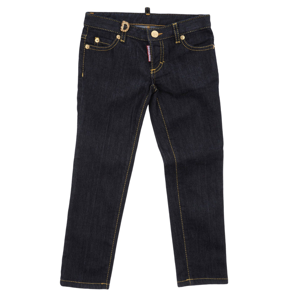 Girls Gold Studded Dark Blue Denim Jeans