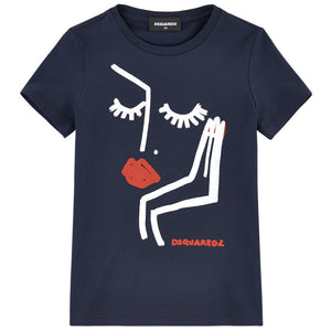 Dsquared2 Girls Navy Blue Lady Print T-shirt Girls Tops Dsquared2 [Petit_New_York]