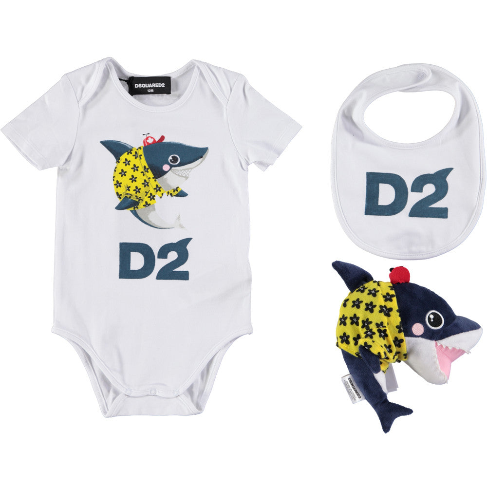 Dsquared2 Baby Boys Shark Three-Piece Gift Set Baby Rompers & Onesies Dsquared2 [Petit_New_York]