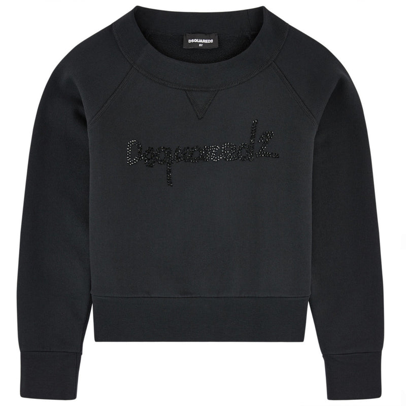 Dsquared2 Girls Rhinestones Logo Sweatshirt Girls Sweaters & Sweatshirts Dsquared2 [Petit_New_York]