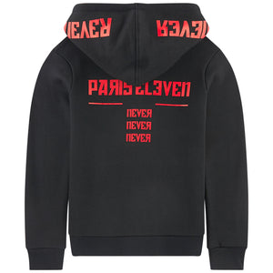 Eleven Paris Black with Red Logo Printed Hoodie Sweatshirt (unisex)