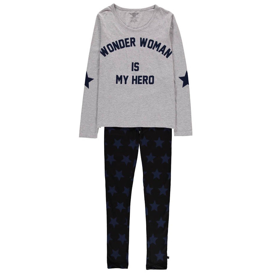 Eleven Paris Girls Grey 'WonderWoman is my Hero' Pajama Set