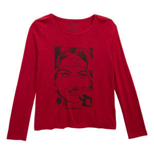 Eleven Paris Girls Red 'WonderWoman' Long-Sleeved T-shirt