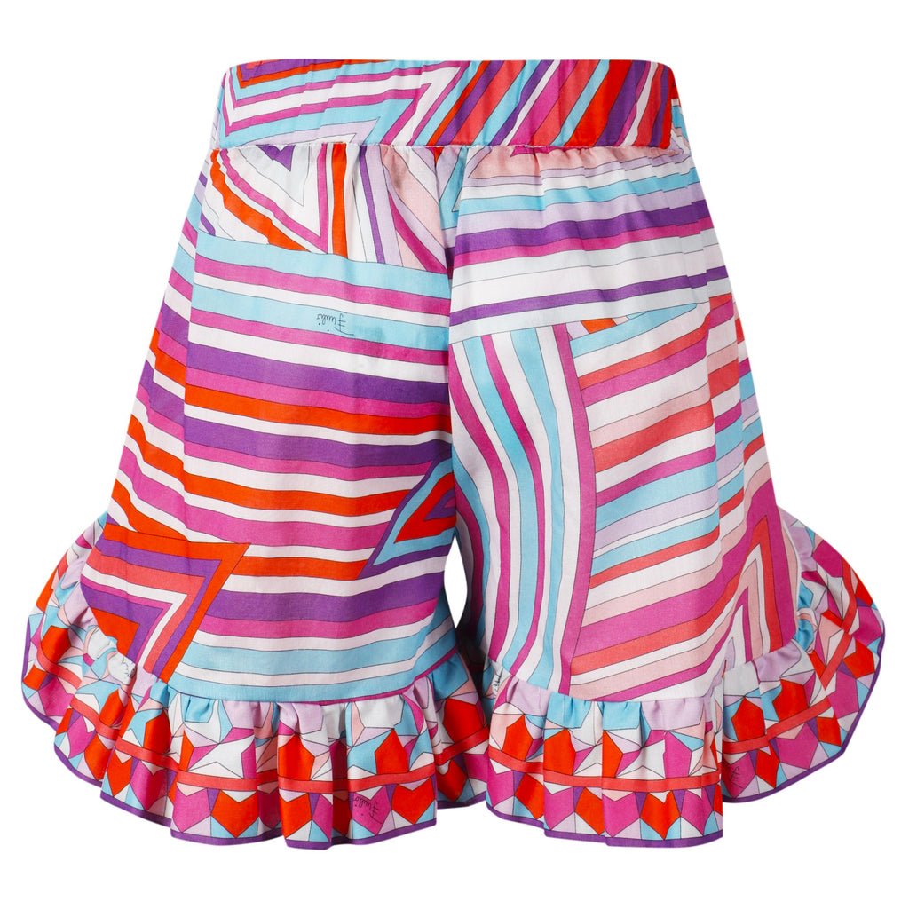 Girls Colorful Geometric Print Shorts