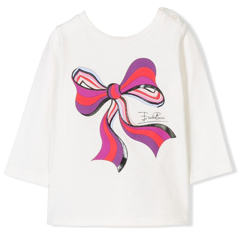 Baby Girls Ivory Bow Printed Top