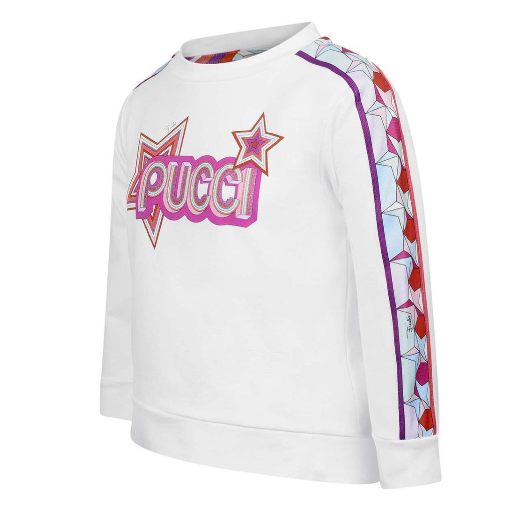 Girls White Logo Sweatshirt with Embroideries