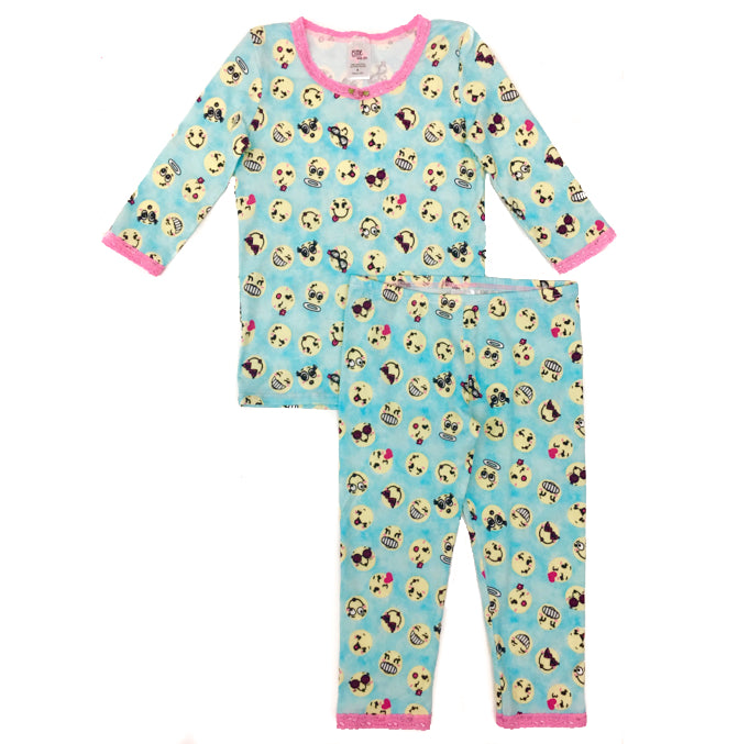 Girls Emoji Printed Super Soft Pajamas Set