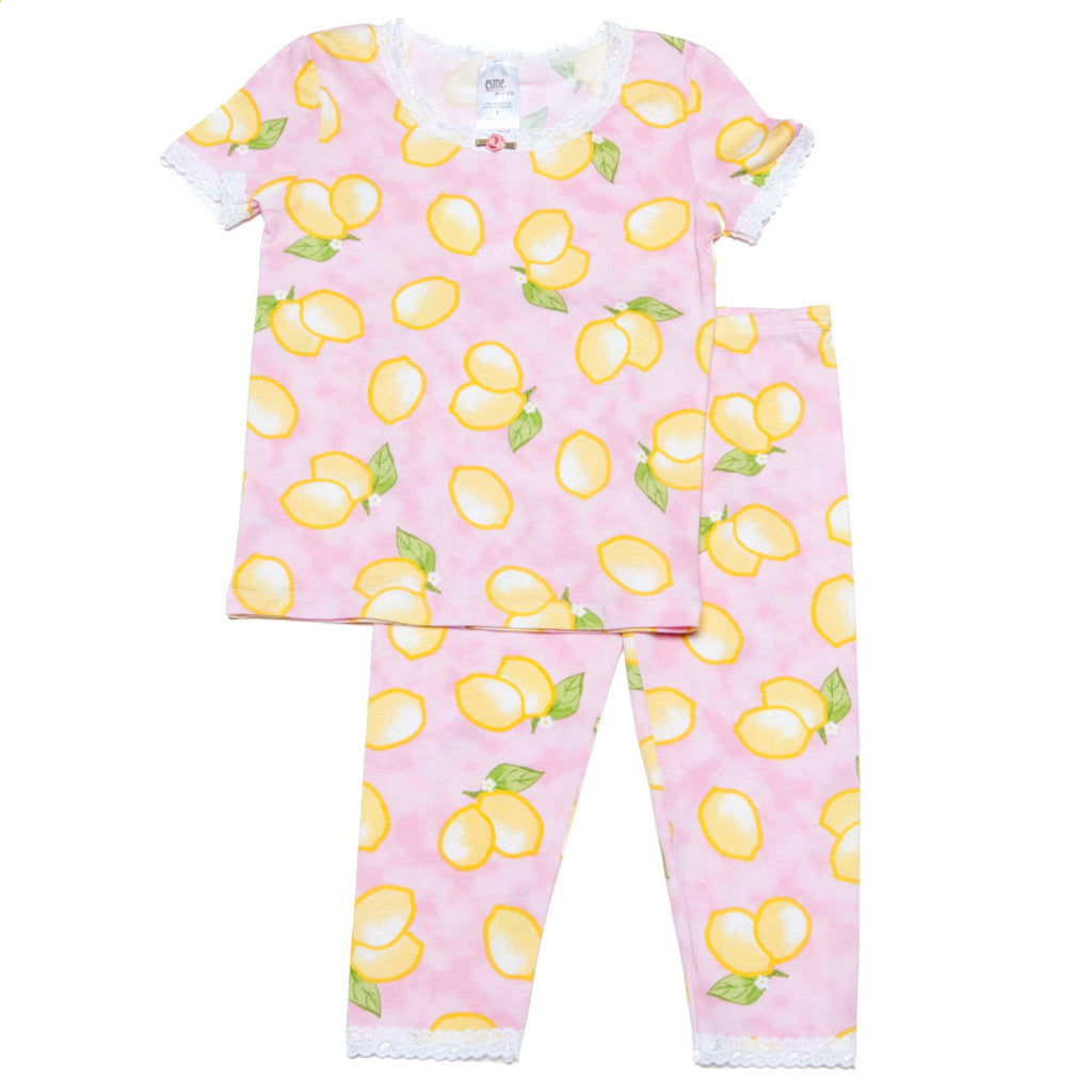 Girls Lemon Printed Super Soft Pajamas Set