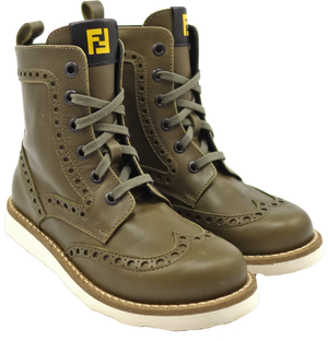 Fendi Boys Olive Green Lace-Up Boots with Zipper Boys Shoes Fendi [Petit_New_York]