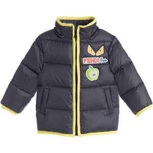 Fendi Baby Boys Navy/Green Puffer Jacket Baby Jackets & Coats Fendi [Petit_New_York]