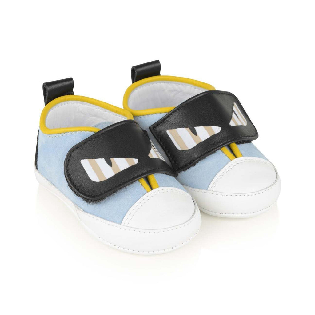 Fendi Baby Boys Blue Suede 'Monster' Shoes