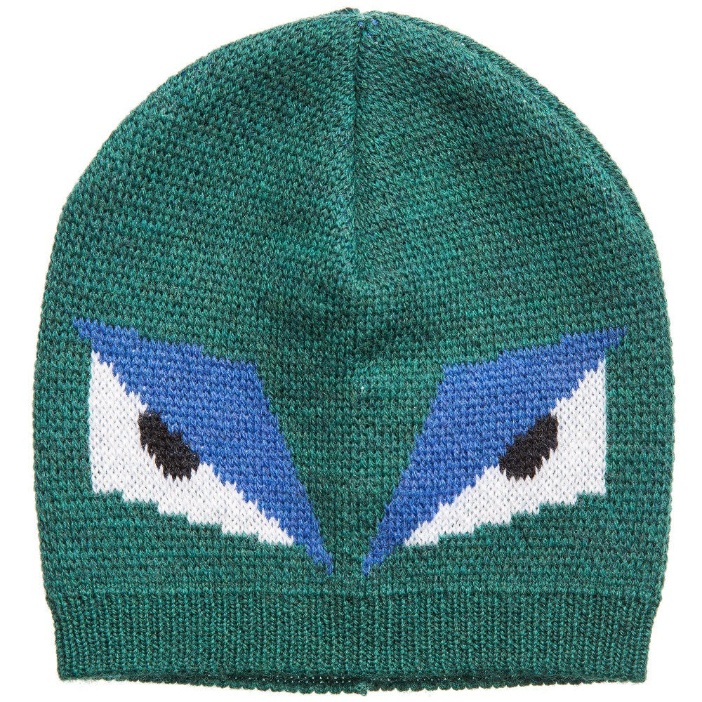 8cd5d82de2e927 Fendi Boys Green 'Monster' Wool Hat Boys Hats, Scarves & Gloves Fendi [