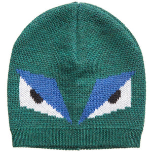 Fendi Boys Green 'Monster' Wool Hat Boys Hats, Scarves & Gloves Fendi [Petit_New_York]