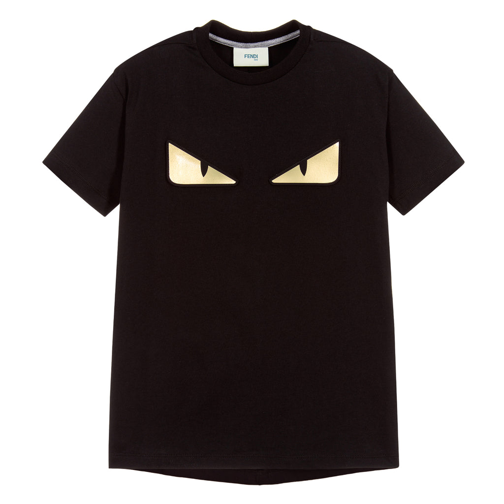 Boys Black T-shirt with Gold 'Monster Eyes'