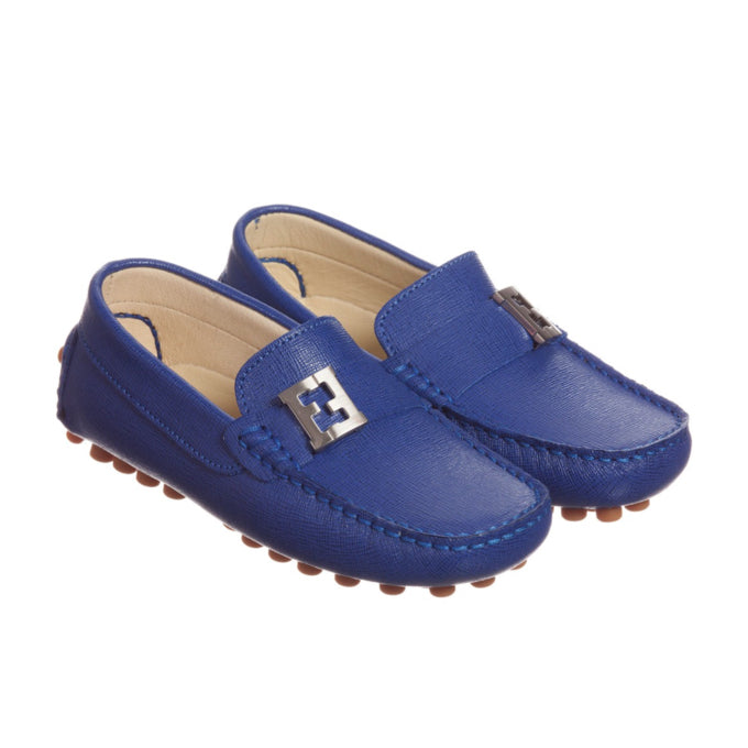 Boys Blue Leather Loafers with Metal Logo