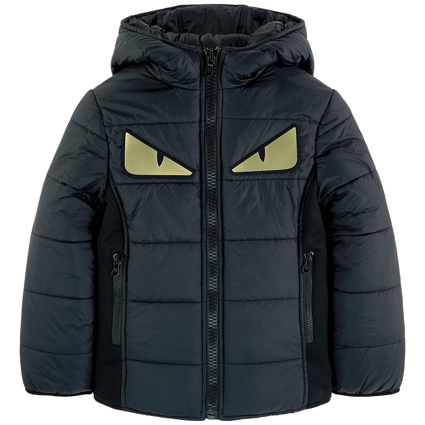 aa8a784b9 Boys Dark Puffer Jacket with Gold 'Monster Eyes'