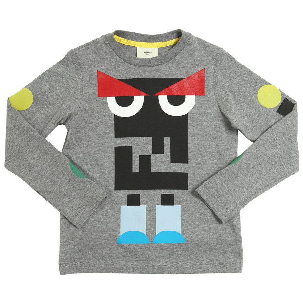 Fendi Boys Grey and Colorful 'Monster' Printed Logo T-shirt Boys T-shirts Fendi [Petit_New_York]
