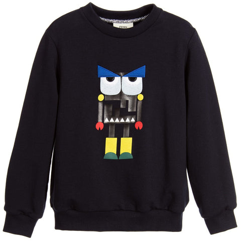 Kenzo Boys Navy Blue Logo Sweatshirt (Unisex) | New Collection
