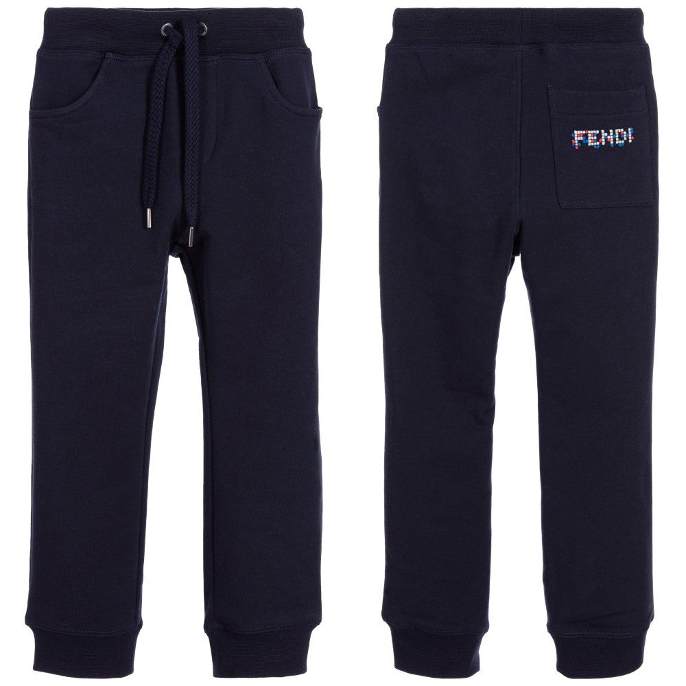 Fendi Boys Navy Sweatpants with Logo Patch Boys Pants Fendi [Petit_New_York]