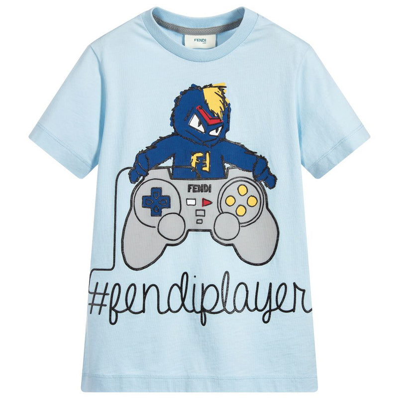 Boys Pale Blue Video Game Print T-shirt
