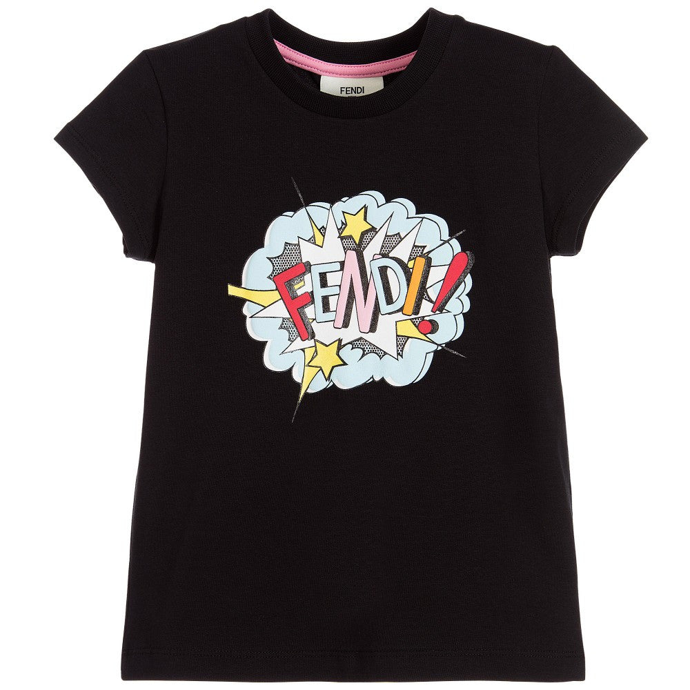 Fendi Girls Black T-shirt with Colorful Graphic Logo Girls Tops Fendi [Petit_New_York]