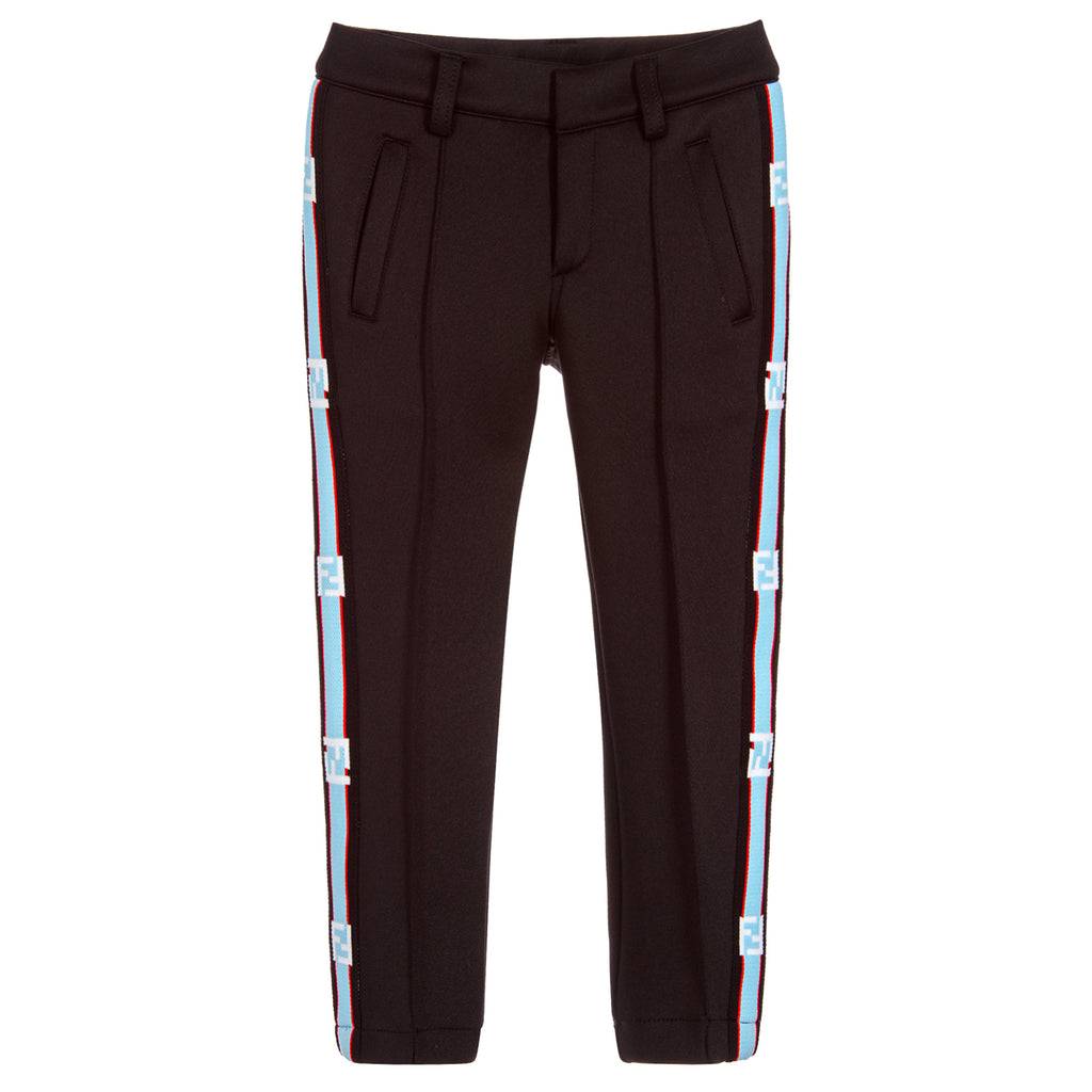 Boys Black with Blue Neoprene Logo Pants