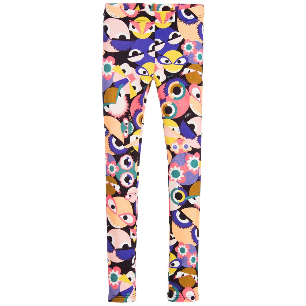 Fend Girls Colorful 'Monster Eyes' Leggings Girls Leggings Fendi [Petit_New_York]