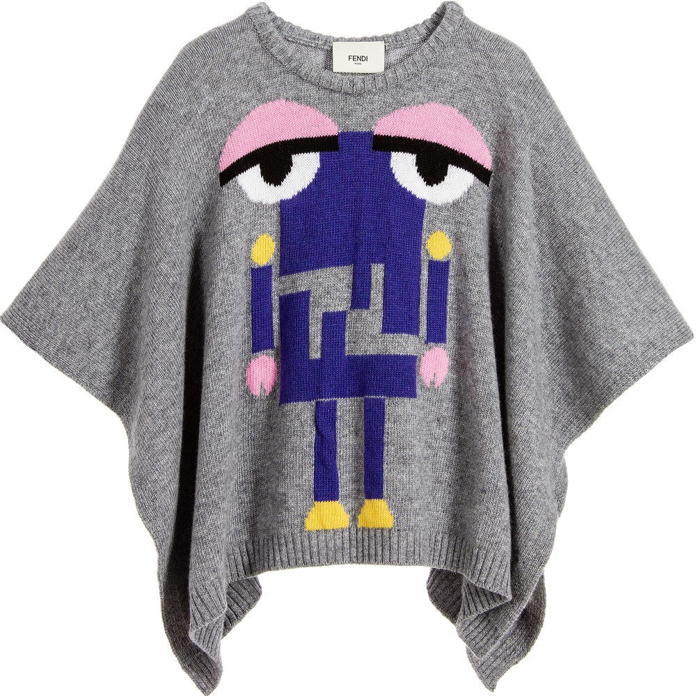 Fendi Girls Cashmere/Wool 'Monster Robot' Poncho Girls Sweaters & Sweatshirts Fendi [Petit_New_York]