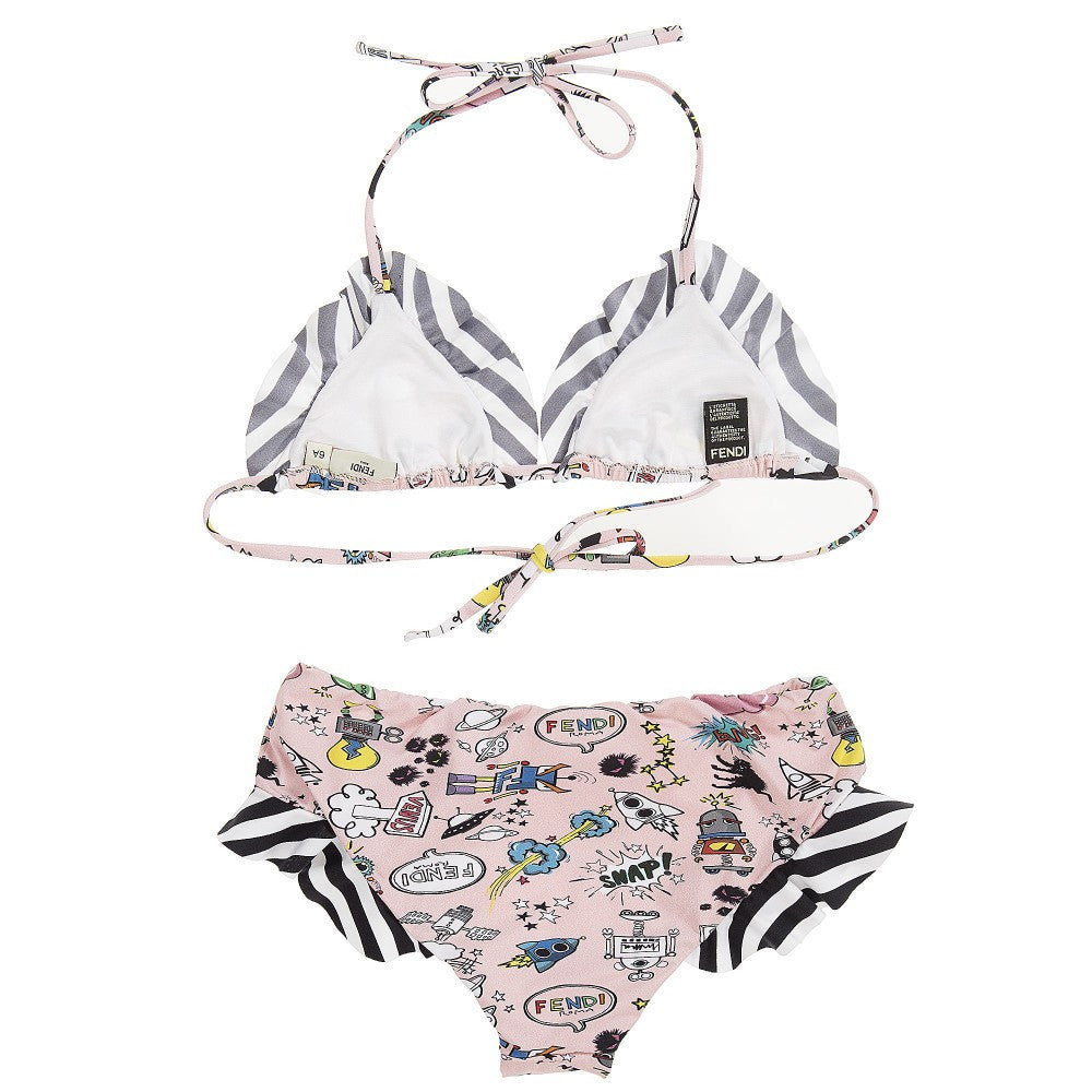 Fendi Girls Pink 'Space' Printed Bikini Girls Swimwear Fendi [Petit_New_York]