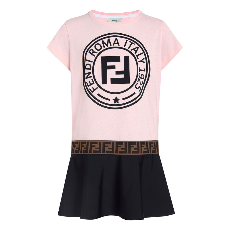 Girls Pink and Dark Logo Short Sleeved Dress