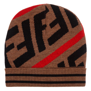 Unisex Brown FF Logo Knitted Hat