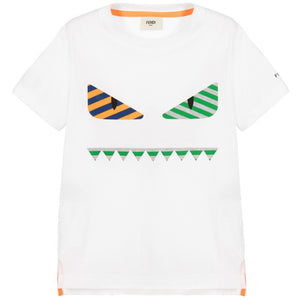 Fendi Boys White 'Monster' T-shirt Boys T-shirts Fendi [Petit_New_York]