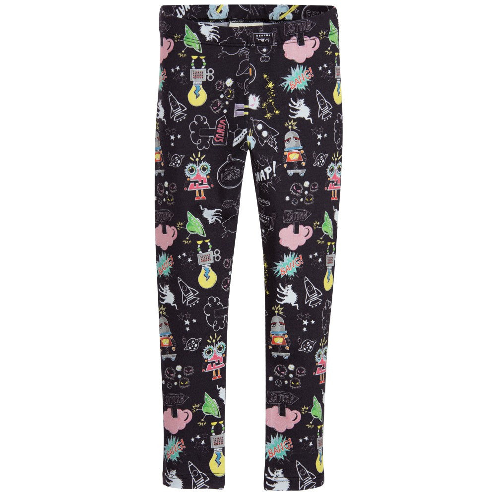 d5582c5ceda3e Fendi Girls Black 'Monster Space' Leggings Girls Leggings Fendi  [Petit_New_York]