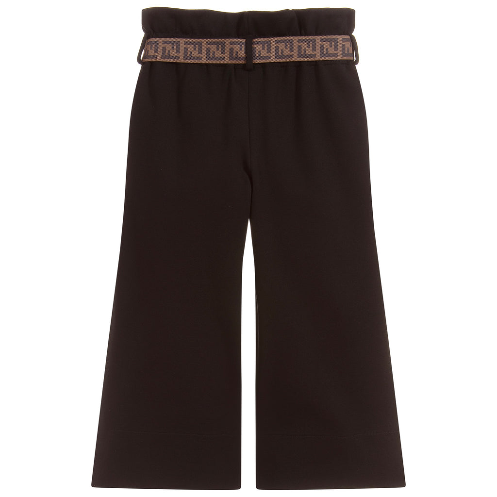 Girls Black Jersey Pants with Logo Belt