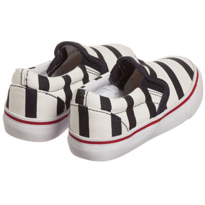 Junior Gaultier Boys & Girls Unisex Striped Canvas Slip-On Shoes Boys Shoes Junior Gaultier [Petit_New_York]