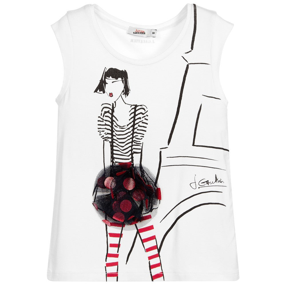 Junior Gaultier Girls Ivory Printed Girl with Appliqué Top Girls Tops Junior Gaultier [Petit_New_York]