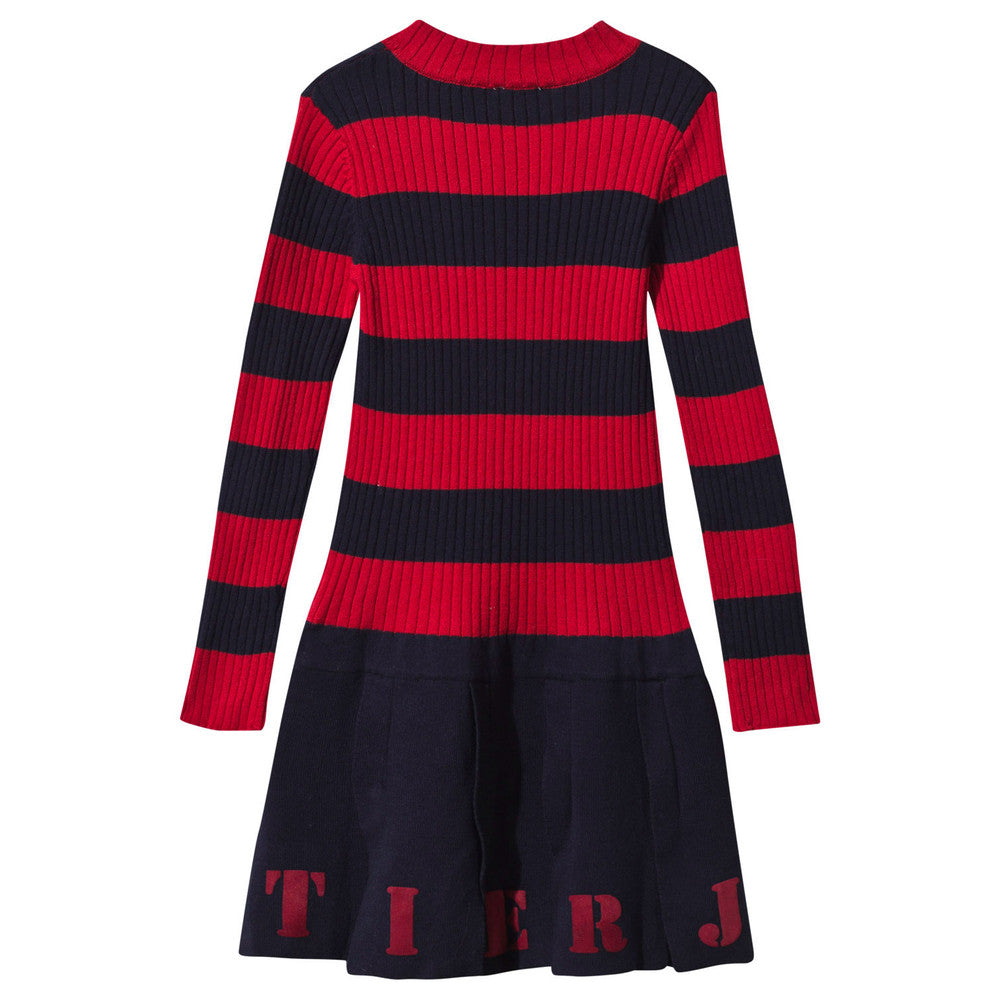 Gaultier Girls Navy & Red Striped Knit Jersey Dress Girls Dresses Junior Gaultier [Petit_New_York]