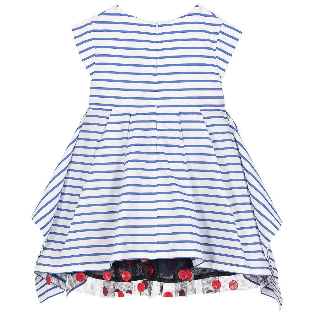 Junior Gaultier Girls Striped Blue & White Dress with Dotted Tulle Skirt Girls Dresses Junior Gaultier [Petit_New_York]