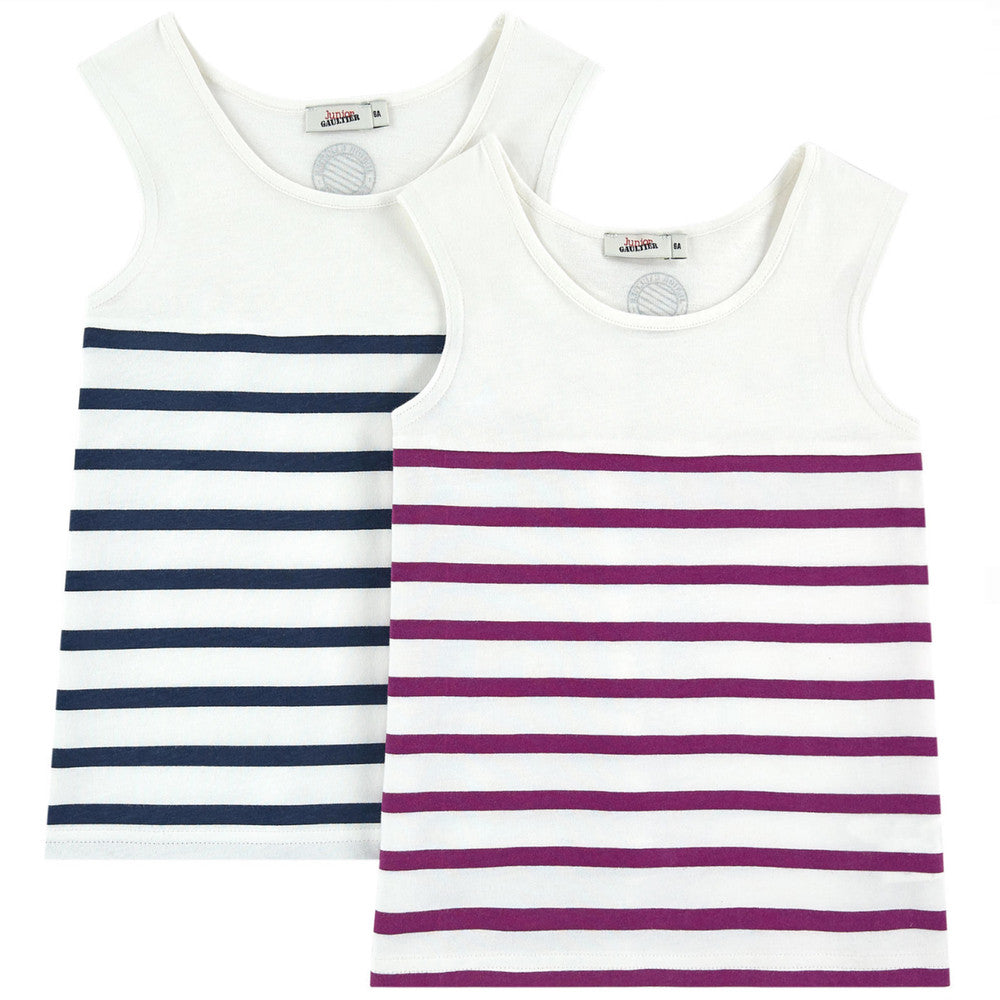 Junior Gaultier Girls Striped Tank Tops Two-Pack Girls Underwear, Socks & Tights Junior Gaultier [Petit_New_York]