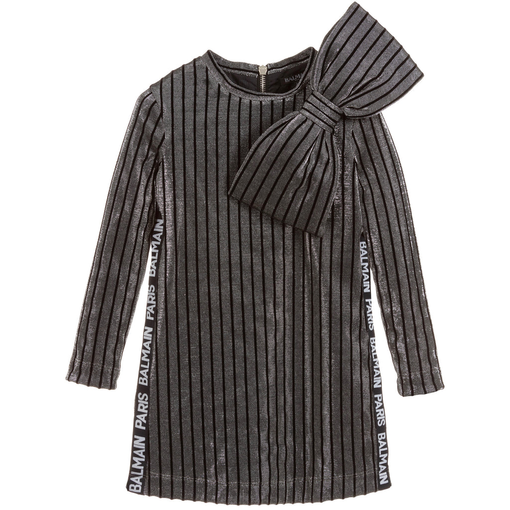 Girls Black and Silver Metallic Bow Logo Dress
