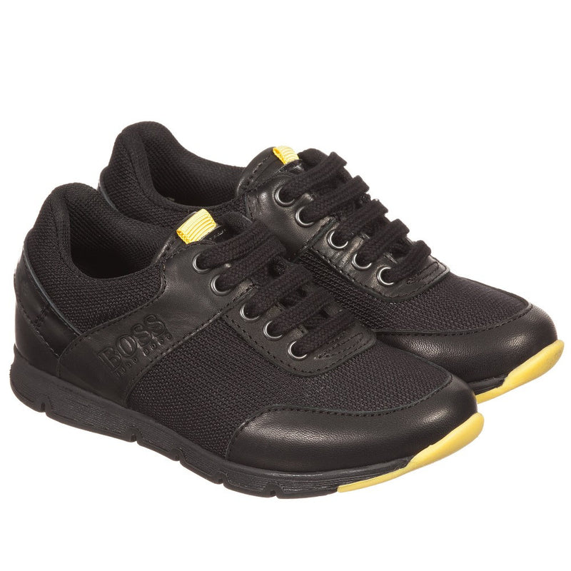 Hugo Boss Boys Black Leather Sneakers Boys Shoes Boss Hugo Boss [Petit_New_York]