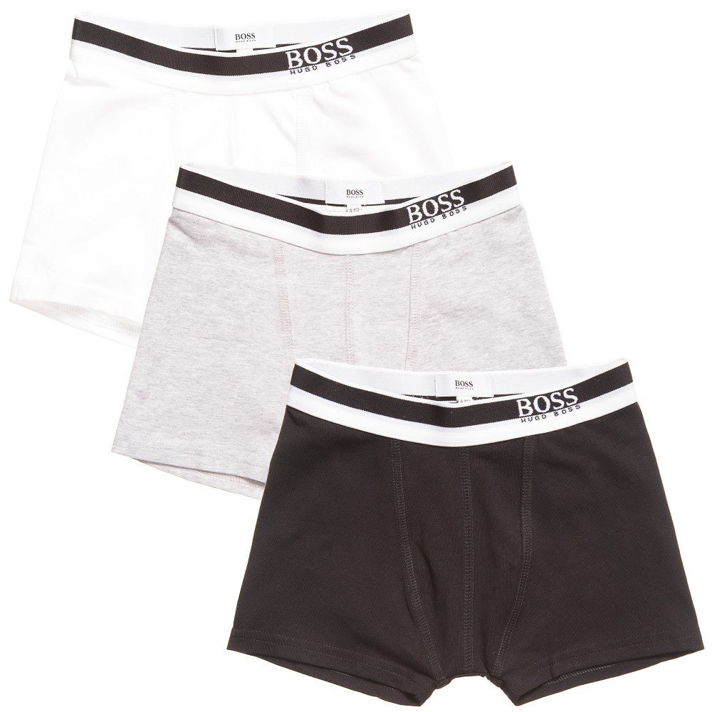 Hugo Boss Boys Set of Three Boxer Shorts [Black/Grey/White] Boys Underwear & Socks Boss Hugo Boss [Petit_New_York]