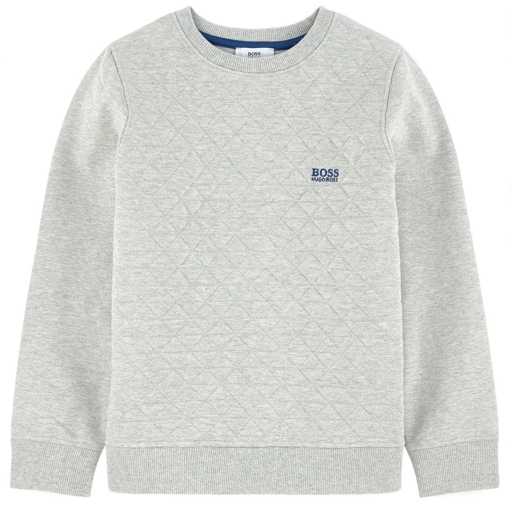 Hugo Boss Boys Grey Padded Logo Sweatshirt Boys Sweaters & Sweatshirts Boss Hugo Boss [Petit_New_York]